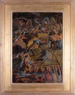British 20th Century oil painting of 'The promised land' by Thomas Saunders Nash