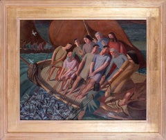 British, mid 20th Century oil painting of 'The Miraculous Draught of Fish'