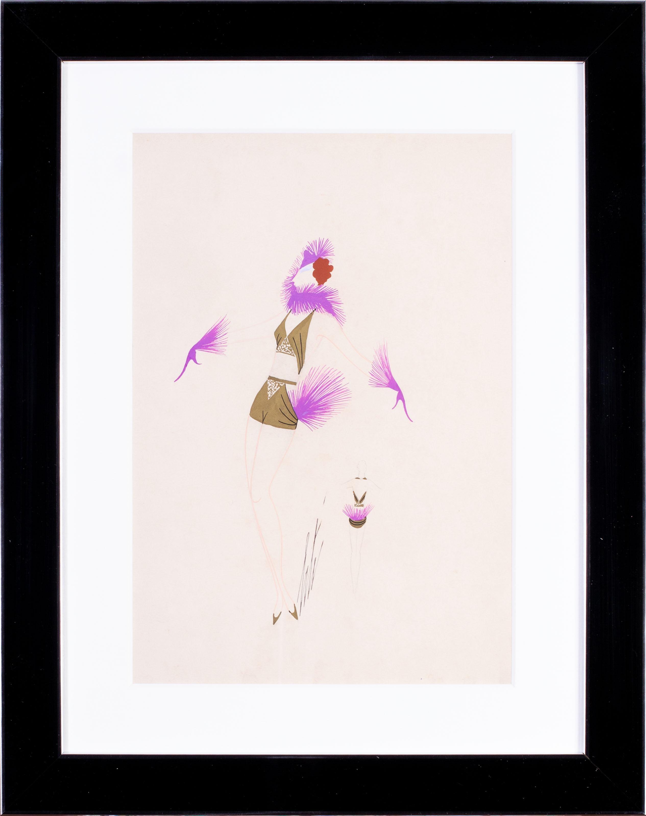 Original Art Deco gouache on paper fashion design by Russian, French artist Erte