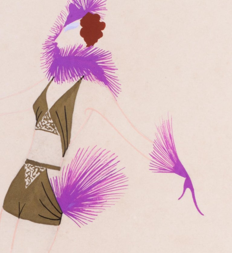Original Art Deco gouache on paper fashion design by Russian, French artist Erte For Sale 1
