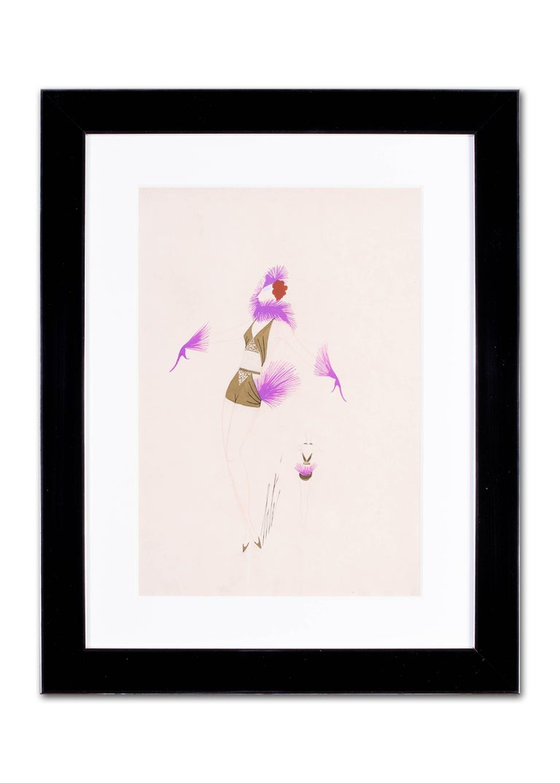 Original Art Deco gouache on paper fashion design by Russian, French artist Erte For Sale 5