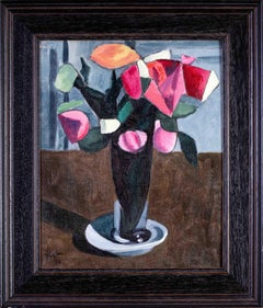 French 20th Century Cubist oil painting of a Vase of flowers by Duffour