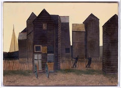 British 20th Century oil painting of fisher huts at Hastings, Kent