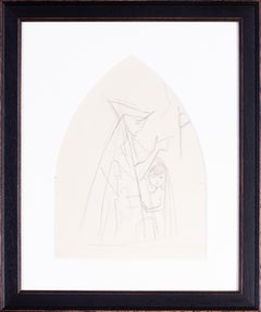 German Expressionist drawing by Carl Hofer of a mother and child