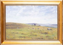 British 20th Century oil painting of sheep on the Moor