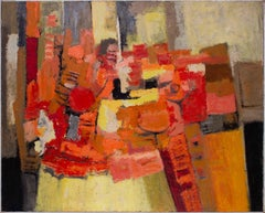 Large, French 20th Century abstract oil painting with orange and blacks