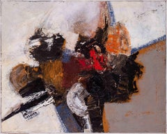 Mid Century French abstract oil on canvas by Jean Maurice Lasnier