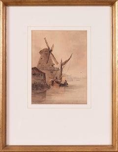 19th Century British watercolour, 'Randalls Mill, Nine Elms, Thames, London'