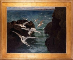 Large oil paintings of Gulls at St. Ives bay, Cornwall by British artist Titcomb