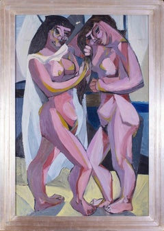 A large, Cubist 20th Century oil painting of two nudes