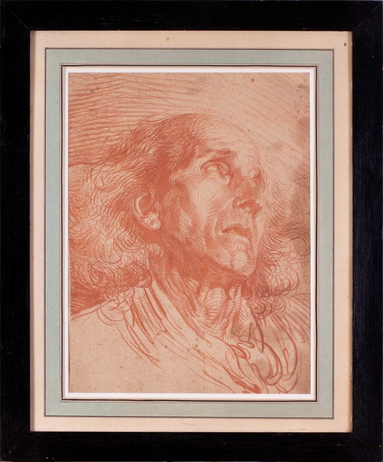 Jean-Baptiste Greuze (French, 1725 – 1805) Portrait of a man Sanguine on paper 16 x 12 in. (40.8 x 30.7cm.) This has been expertised by the Cabinet de Bayser, Paris  Behind glass in a simple black painted wood frame with chips.  Jean-Baptiste Greuze