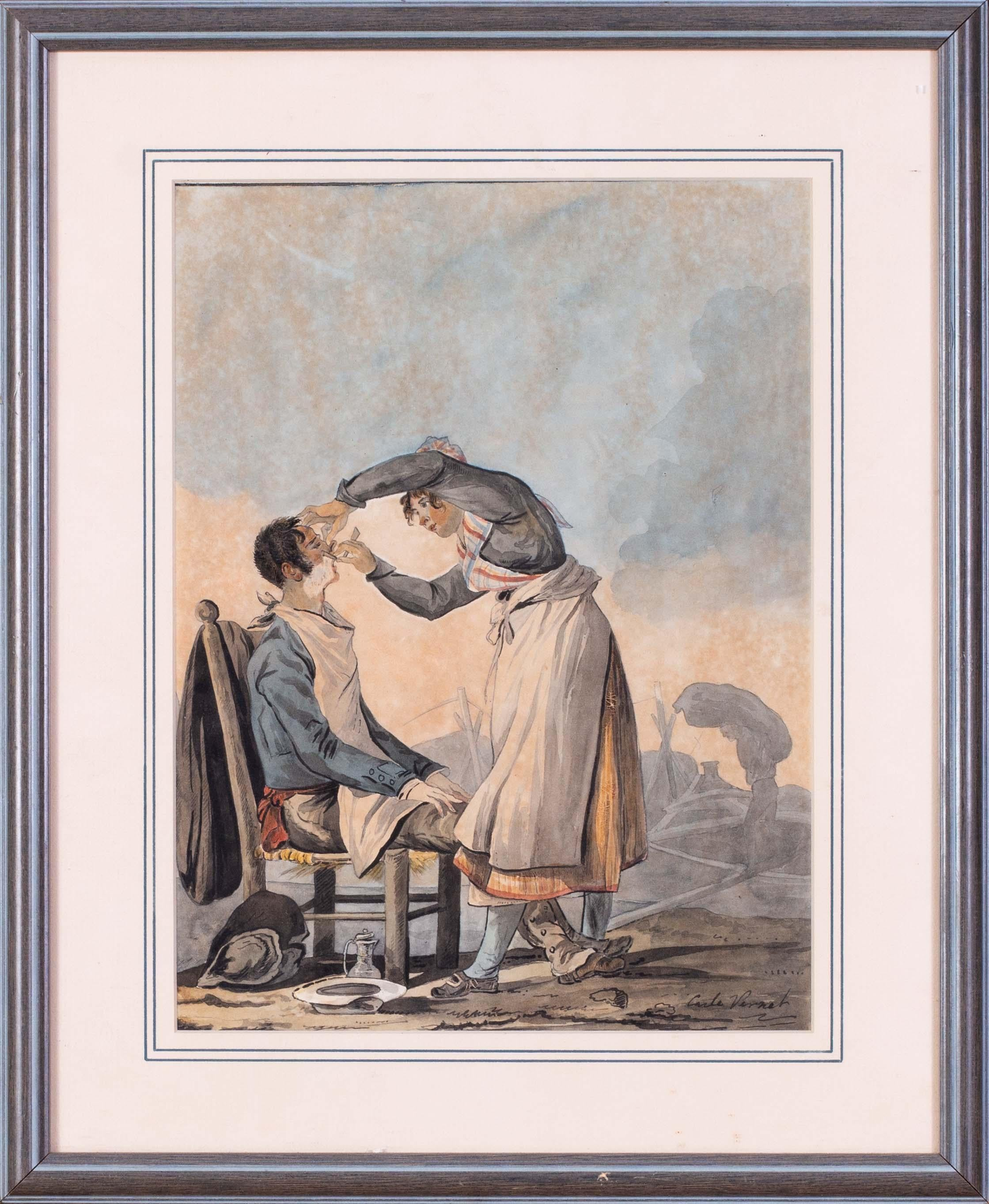 Pair of 18th Century watercolour drawings by Old Master Carle Vernet