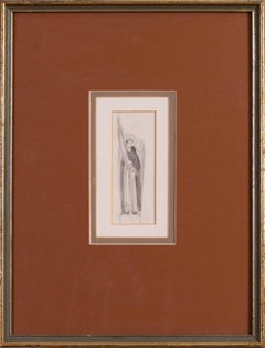 Eric Gill sketch of an angel, British early 20th Century