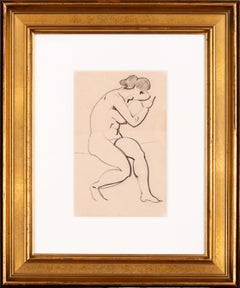 Early 20th Century French drawing of a nude by Paul Emile Chabas