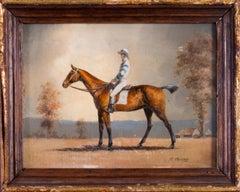 Jockeys and their mount (set of 4 miniature oil paintings of jockeys and horses)