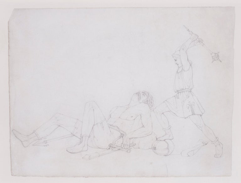 Lord Frederic Leighton (British, 1830 – 1896) Study of a warrior slaying a sleeping giant pencil on paper 9.1/2 x 12.3/4 in. (24.2 x 32.2 cm.) Provenance: Gifted by Leighton to his cousin Edith Emily Jellicorse, nee Garnham, and thence by