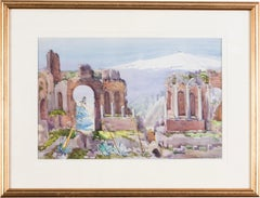 British, 20th Century watercolour of the Amphitheatre, Taormina, Sicily, Italy