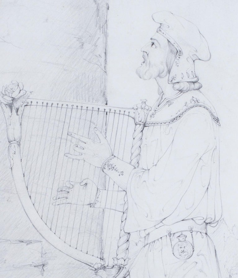 An early 19th Century drawing by the British pre-Raphaelite artist Lord Leighton For Sale 1