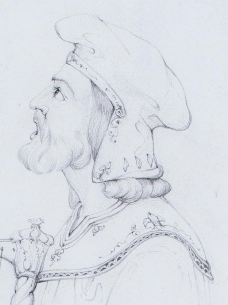 An early 19th Century drawing by the British pre-Raphaelite artist Lord Leighton For Sale 3