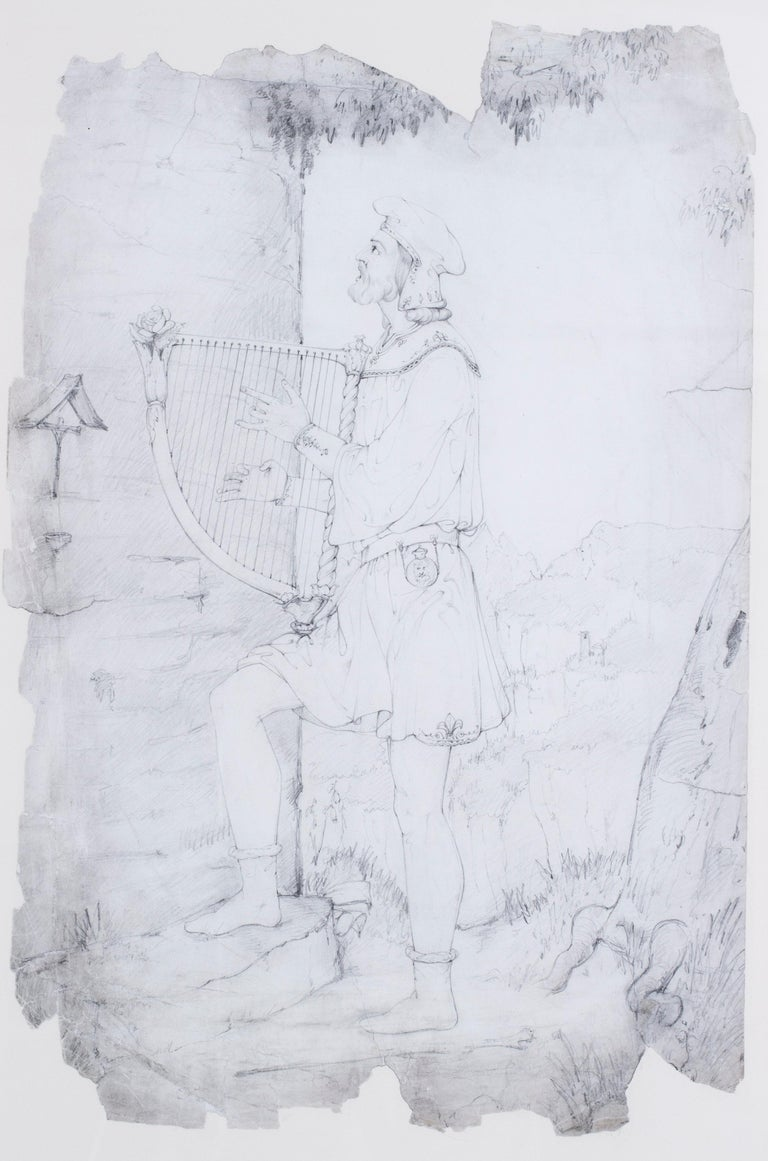 An early 19th Century drawing by the British pre-Raphaelite artist Lord Leighton For Sale 5