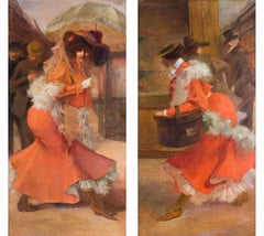 Pair of Belle Epoque French paintings of Parisien ladies dressed in orange