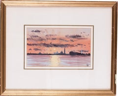 A watercolour of a sunset over Venice from the Lido by British artist John Doyle
