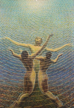 An early 20th Century Futurist Oil Painting by Sexto Canegallo 'A New Dawn'