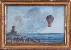 A very early and rare watercolour documenting the first Aero Montgolfiere flight