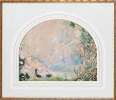 A British 19th Century watercolour of fairies in pastel colours by John Simmons
