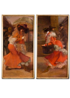 Pair of French Belle Epoque 19th Century oil paintings of ladies in orange
