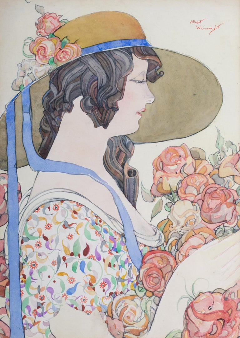 British early 20th Century watercolour painting of a lady in a hat holding roses - Art by Albert Wainwright