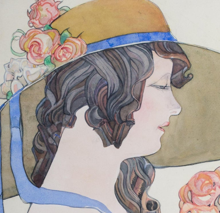 British early 20th Century watercolour painting of a lady in a hat holding roses - Gray Figurative Art by Albert Wainwright