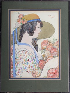 British early 20th Century watercolour painting of a lady in a hat holding roses
