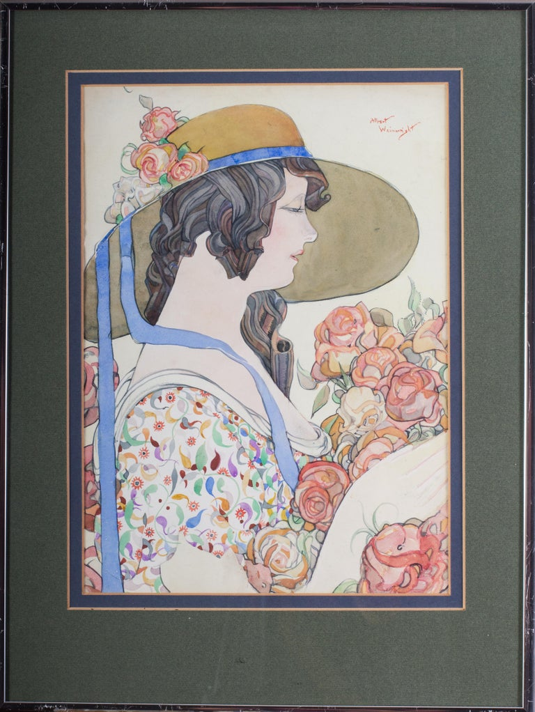 Albert Wainwright Figurative Art - British early 20th Century watercolour painting of a lady in a hat holding roses
