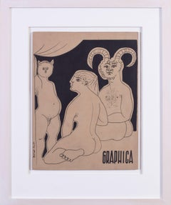 Original mid 20th Century French drawing by Expressionist Morot-Sir 'Graphica'