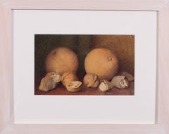 British early 20th Century small still life painting of oranges and nuts