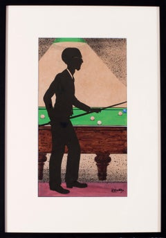 British 20th Century original watercolour painting of a snooker / pool player