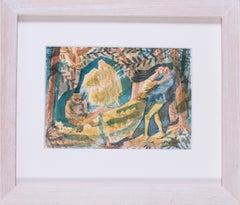 British 20th Century original watercolour of scene from The Tempest, Shakespeare