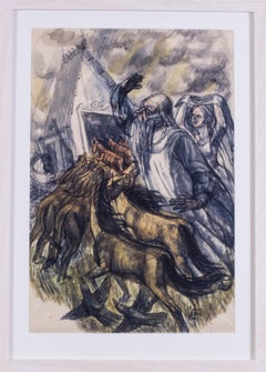 British 20th Century original watercolour, Noah leading the animals into the ark