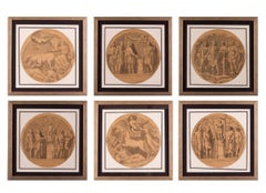 Set of 8 Italian 18th Century classical drawings of reliefs in Rome