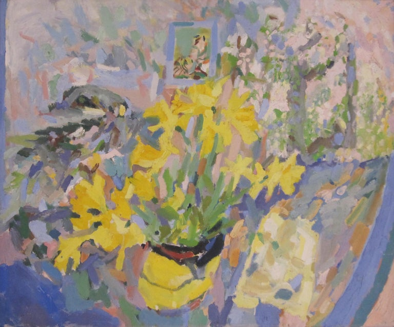 British Contemporary oil painting of Daffodils by artist Rosie Montford - Painting by Rosie Montford
