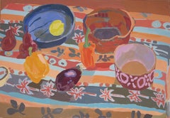 British contemporary large oil painting of a still life by Rosie Montford