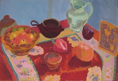 Contemporary British oil painting of a red still life by Rosie Montford