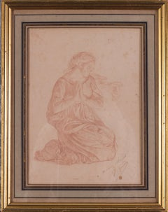 French, 19th Century drawing of a Lady in prayer by Jean-Leon Gerome