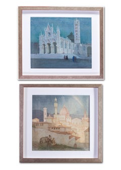 British, Early 20th Century watercolours of Siena and Florence in Italy
