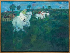 French, 20th Century oil painting of horse racing painted in vivid greens