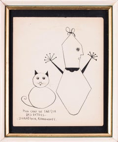 French 20th Century drawing 'My cat only does stupid things'