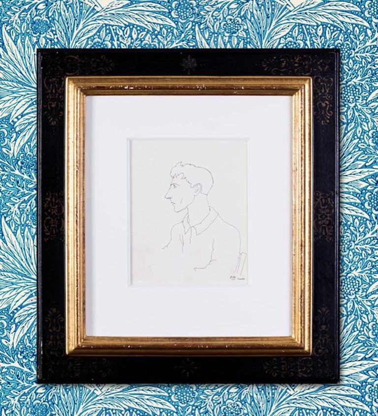 Early Jean Cocteau, Self Portrait, ink drawing, 1922 For Sale 3