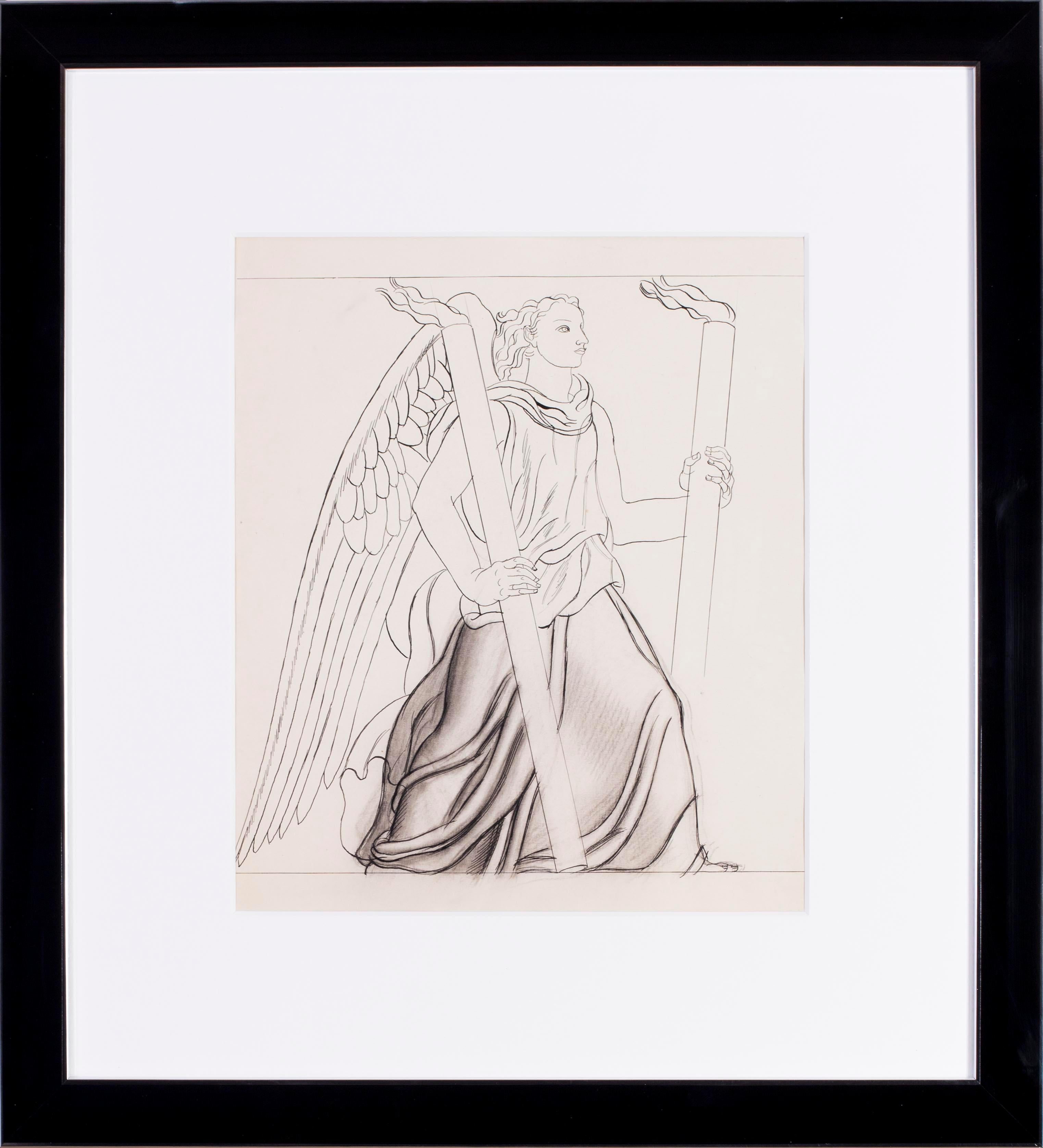 Jean Dupas art deco drawing, 'The Angel of light'