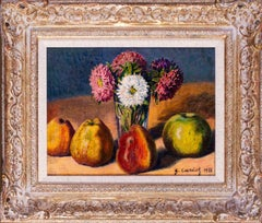 French Impressionist still life oil painting of quince and dahlias by Cariot